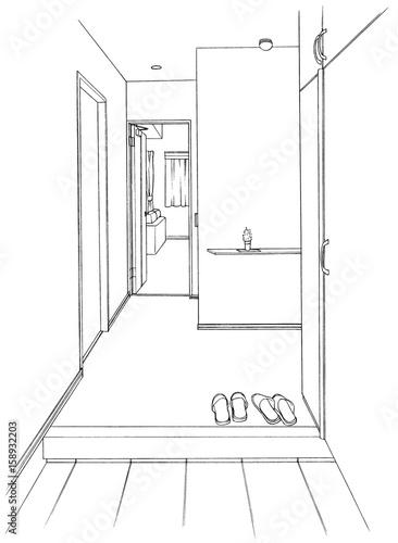 漫画風ペン画イラスト 玄関 - 158932203