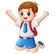A cute boy in a school uniform is jumping