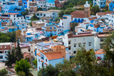 cityscape of Chefchaouen from a high hill