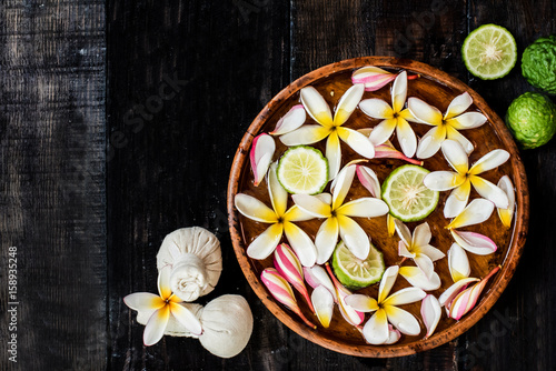 Spa and massage decoration on wood background