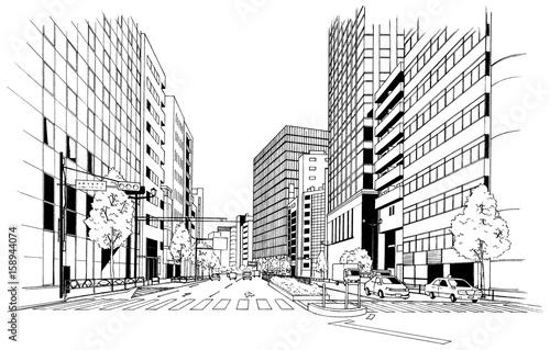 漫画風ペン画イラスト 街並 - 158944074