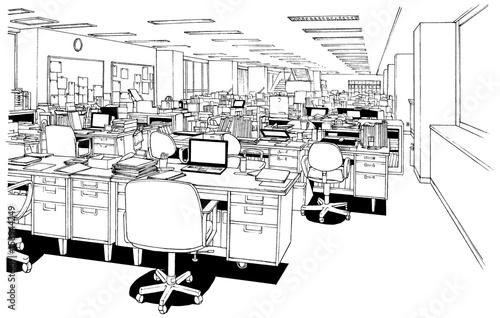 漫画風ペン画イラスト オフィス - 158944249