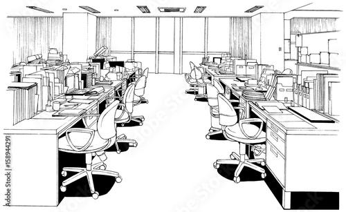 漫画風ペン画イラスト オフィス - 158944291