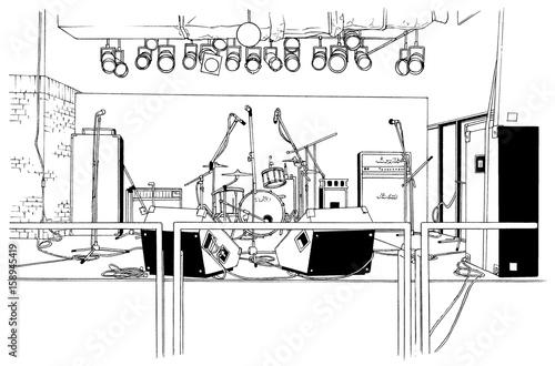 漫画風ペン画イラスト ライブハウス - 158945419