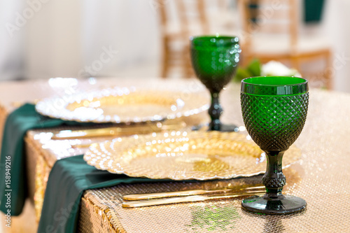 Beautifully organized event - served festive round tables ready for guests Poster