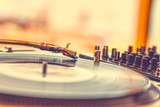 Summer beach party - vinyl record player close up