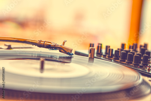 Summer beach party - vinyl record player close up Poster
