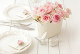 wedding flowers on table, wedding table setting - 158958069