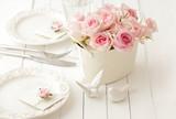 wedding flowers on table, wedding table setting