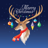 Christmas greeting card with deer