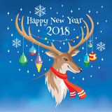 2018 New Year greeting card with deer