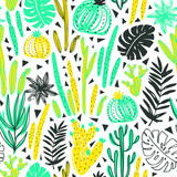 Seamless pattern with wild tropical rainforest. Tropic vector repeating background. - 158962443