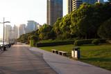 Park path grass with city landmark buildings