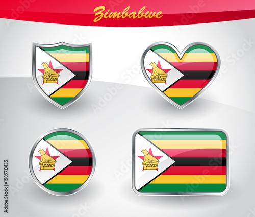 Glossy Zimbabwe flag icon set