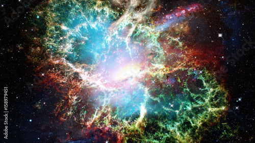 Obraz Open space with nebulae and galaxies. Elements of this image furnished by NASA