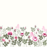 seamless floral border with roses