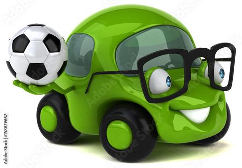 zabawny-samochod,-pilkarz,-grafika-3d,-plakat
