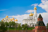 Moscow, Russia. Archangel Cathedral, Ivan the Great Bell tower, a tower and a fragment of the Kremlin wall.