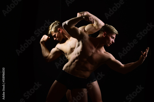 men with muscular torso and strong male abs, fitness model Poster
