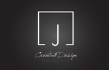 J Square Frame Letter Logo Design with Black and White Colors.