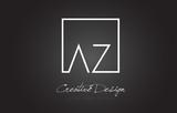 AZ Square Frame Letter Logo Design with Black and White Colors.