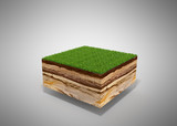 3d illustration of cross section of ground with grass isolated on grey - 158996486