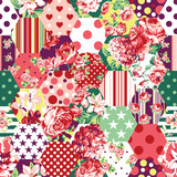 Abstract patchwork with flowers, roses, dots and stars vector seamless pattern background