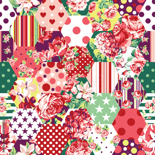 Abstract patchwork with flowers, roses, dots and stars vector seamless pattern background - 158997833