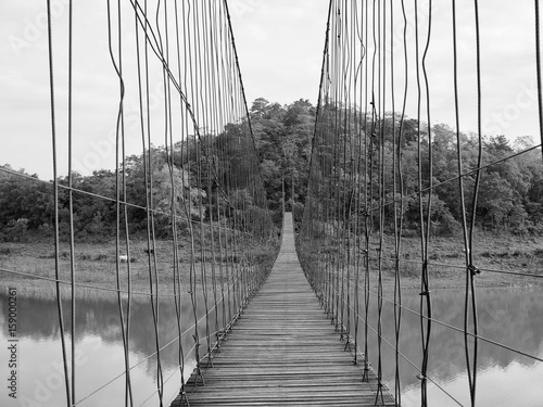 Wood Bridge with Rope in Thailand (Black and White)