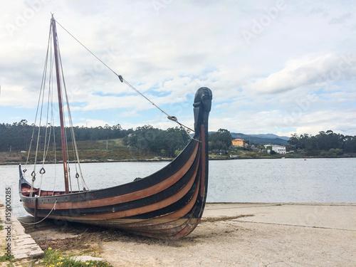 Fotobehang Schip Playing a Viking Ship