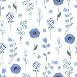 Seamless floral pattern. Cute spring blue flowers background - campanula, clover, poppies. Decorative flowers texture. Design for fabric and decor.