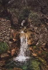 Waterfall in the valley of Biniaraix, Mallorca, Spain