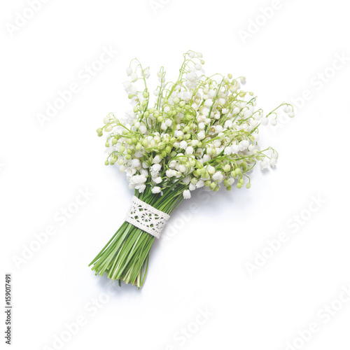 Fotobehang Lelietjes van dalen Bouquet of lilies of the valley on white background