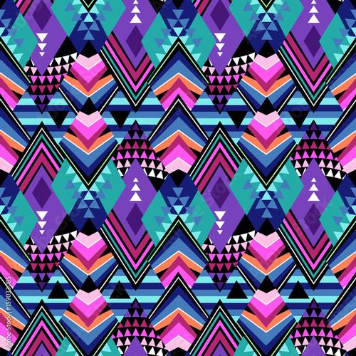 Materiał do szycia dark geometric tribal print - seamless background