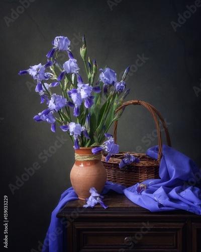 Still life with blue iris flowers © Iryna