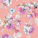 cute hand drawn flower print - seamless background