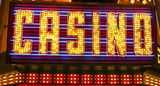 Casino writing in Downtown Las Vegas - beautiful neon sign - LAS VEGAS - NEVADA - APRIL 23, 2017