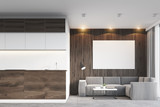 Dark wooden living room and kitchen
