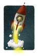 Businessman inside a rocket travels through space