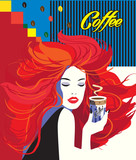 Beautiful Woman drinking coffee cup Art modern background. Concept menu, breakfast, cappuccino. Vector illustration