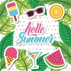 hello summer flat icon vector illustration design graphic