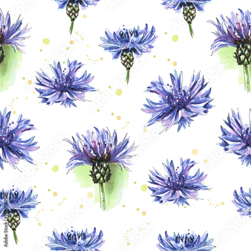 Panel Szklany Meadow blue flowers, cornflowers. Seamless floral pattern. Watercolor