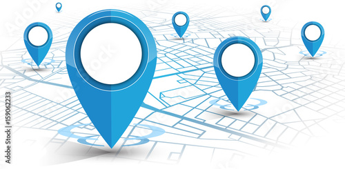 GPS navigator pin blue color mock up wite map on white background - 159062233