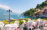 restaurant terrace with view of beautiful Varenna old town, Lake Como, Italy - 159071251