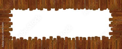 cartoon wooden frame - illustration for children - 159076014