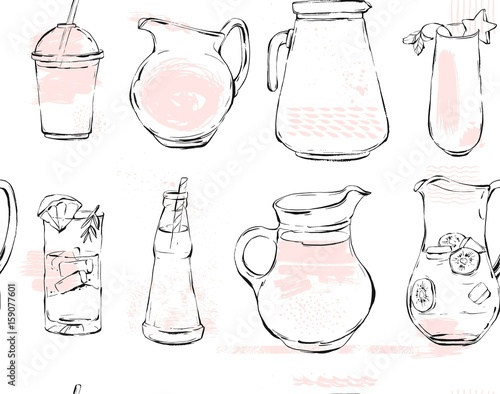 Hand drawn vector graphic Kitchen glassware utensils pitcher,bottle glasses bowel drinking accessories seamless pattern brush drawing isolated on white background with pastel colored freehand texture - 159077601