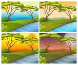 Four scenes of river in forest