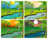 River scenes at four different times