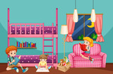 Children reading and drawing in bedroom