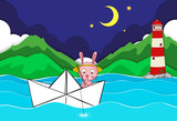 River scene with rabbit fishing on paperboat
